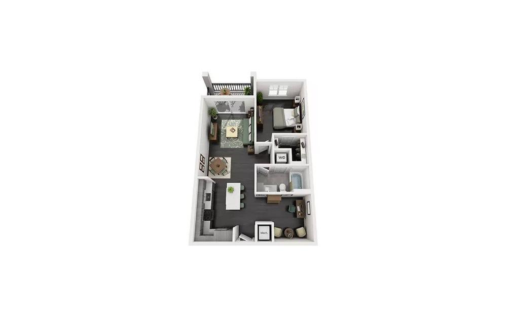 Actoria 1 Bedroom 1 Bath Floorplan