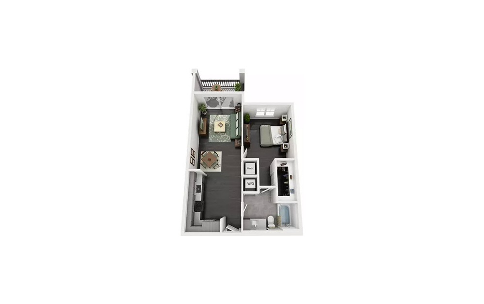 Ariel 1 Bedroom 1 Bath Floorplan