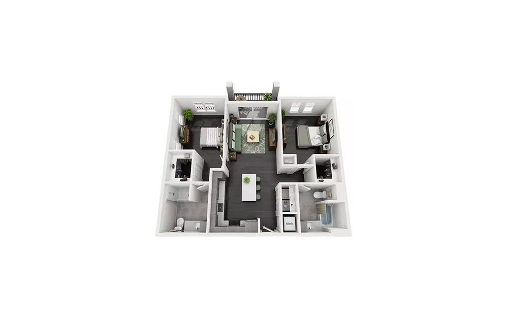 Bella Studio 1 Bath Floorplan