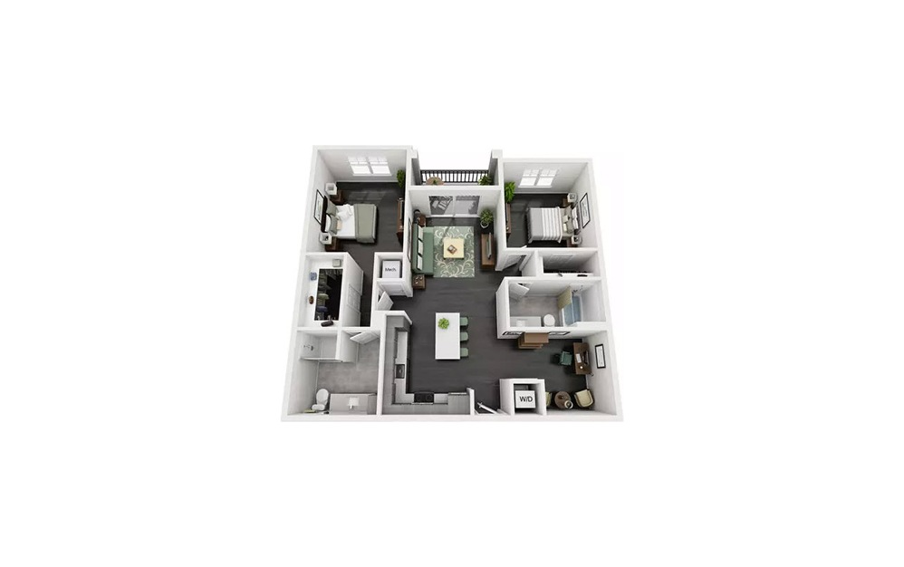 Bellio 2 Bedroom 2 Bath Floorplan