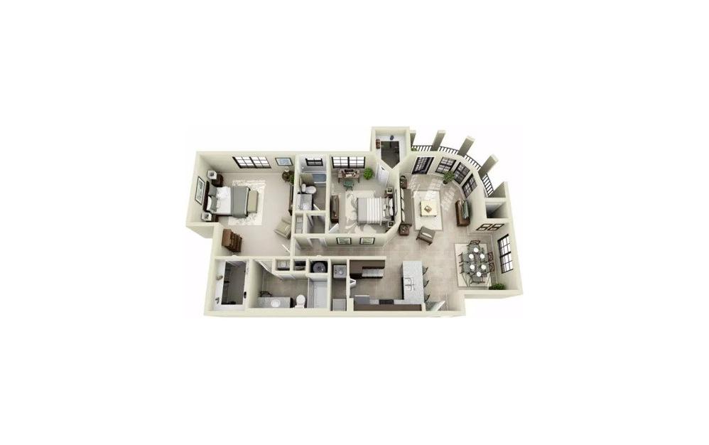 Bentoni Studio 1 Bath Floorplan