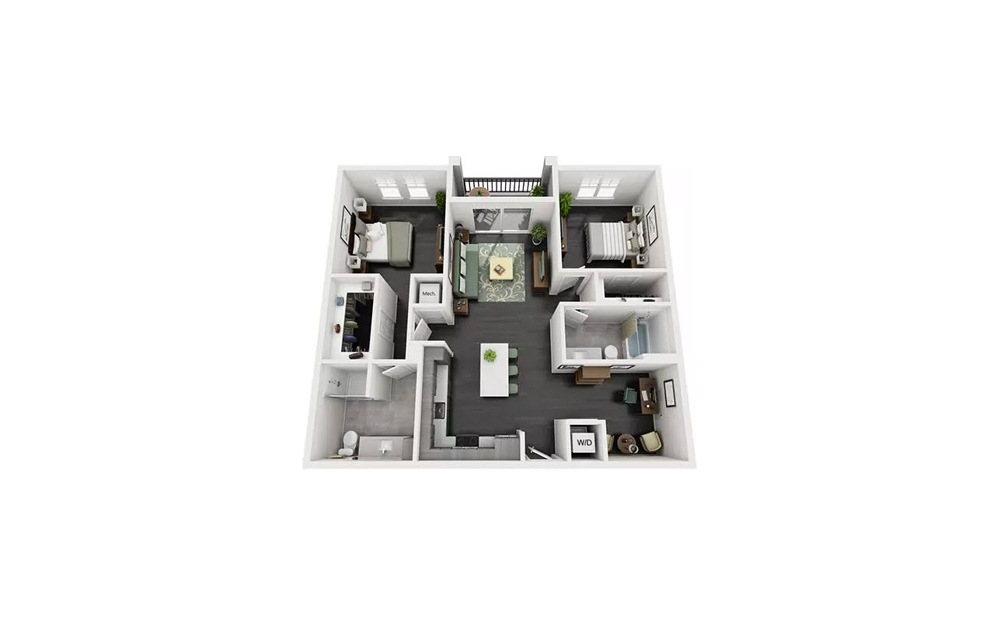 Bodega 2 Bedroom 2 Bath Floorplan