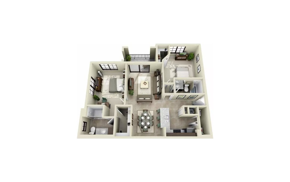 Bodoni 2 Bedroom 2 Bath Floorplan