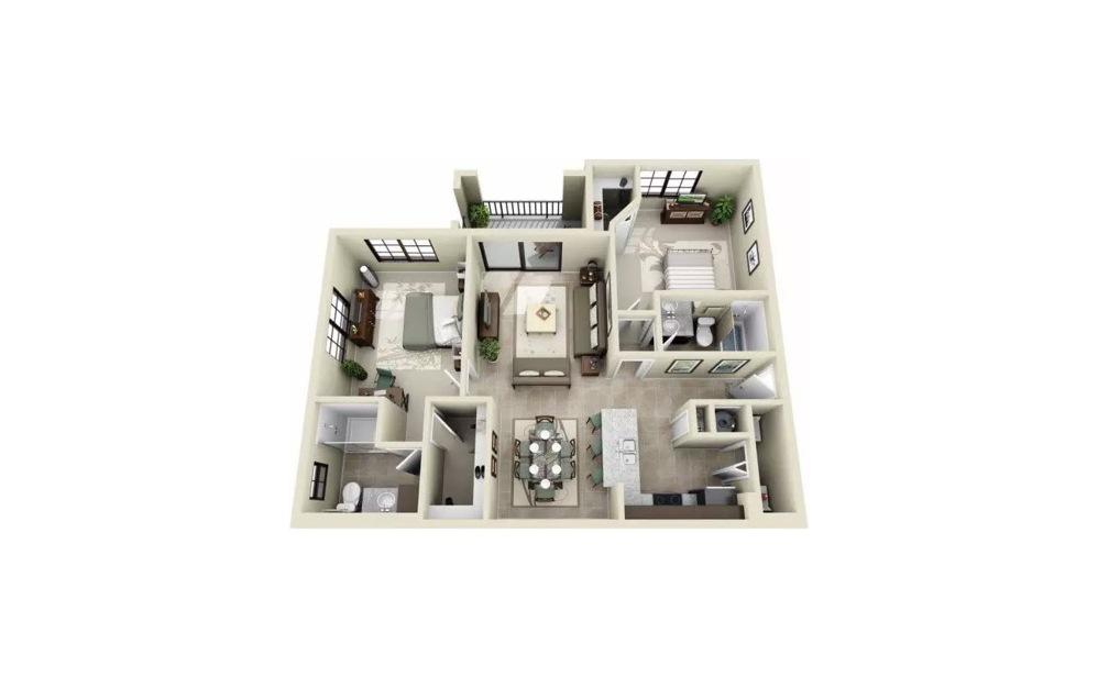 Bradley 2 Bedroom 2 Bath Floorplan