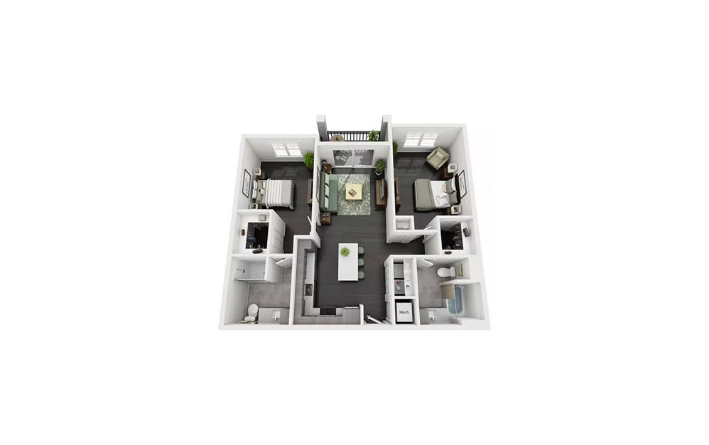 Bromello 2 Bedroom 2 Bath Floorplan