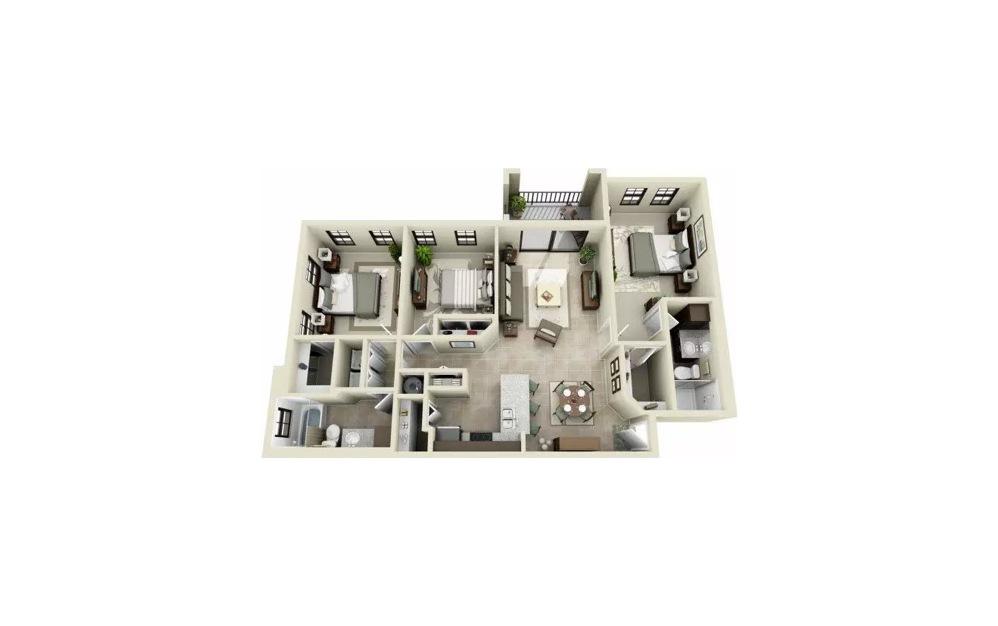 Calibri 3 Bedroom 2 Bath Floorplan