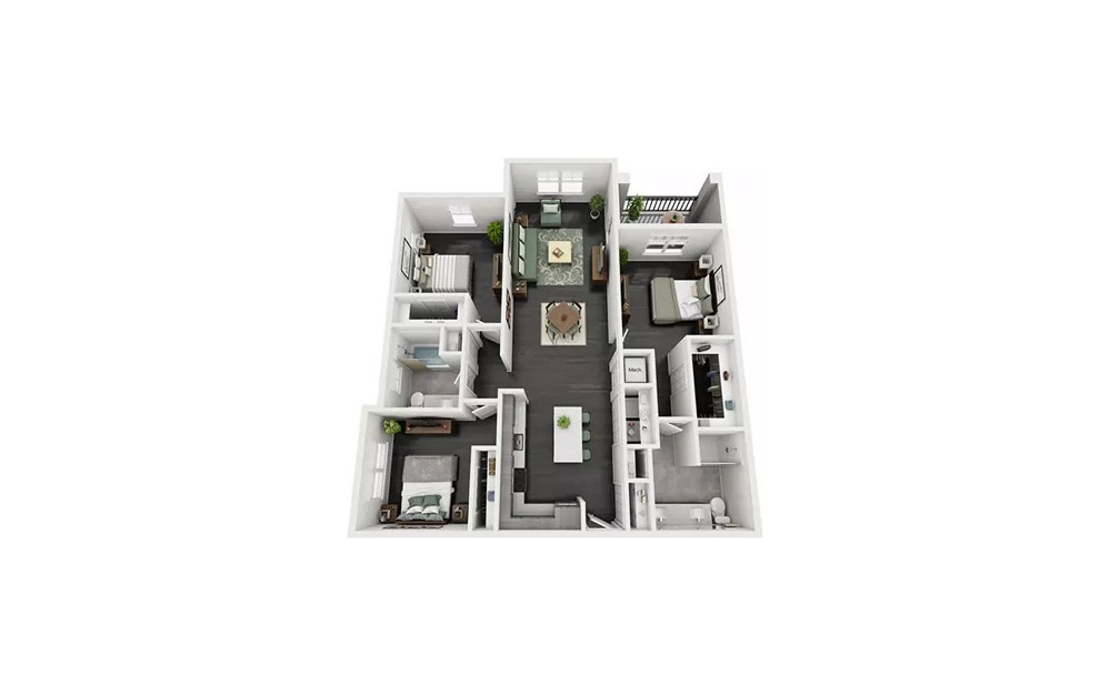 Carela 3 Bedroom 2 Bath Floorplan