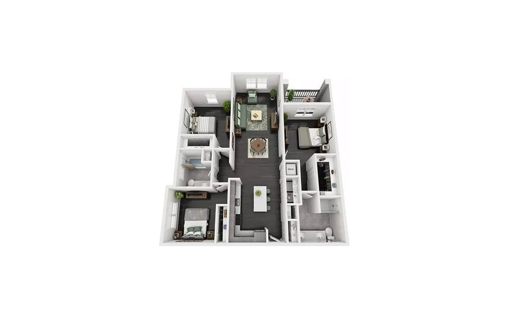 Carela 3 Bedroom 2 Bath Floorplan