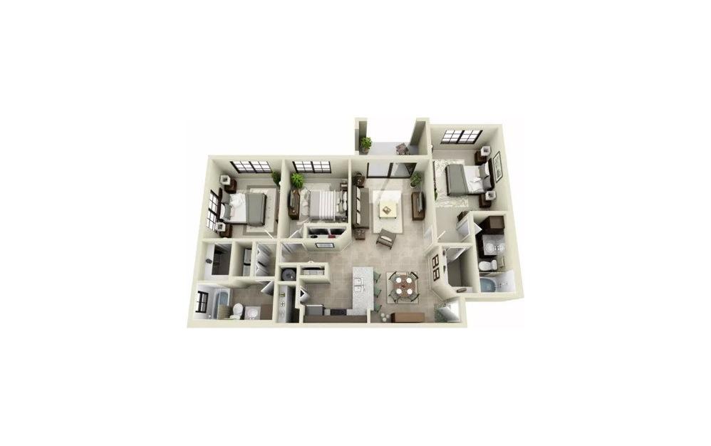 Cordoba 3 Bedroom 2 Bath Floorplan